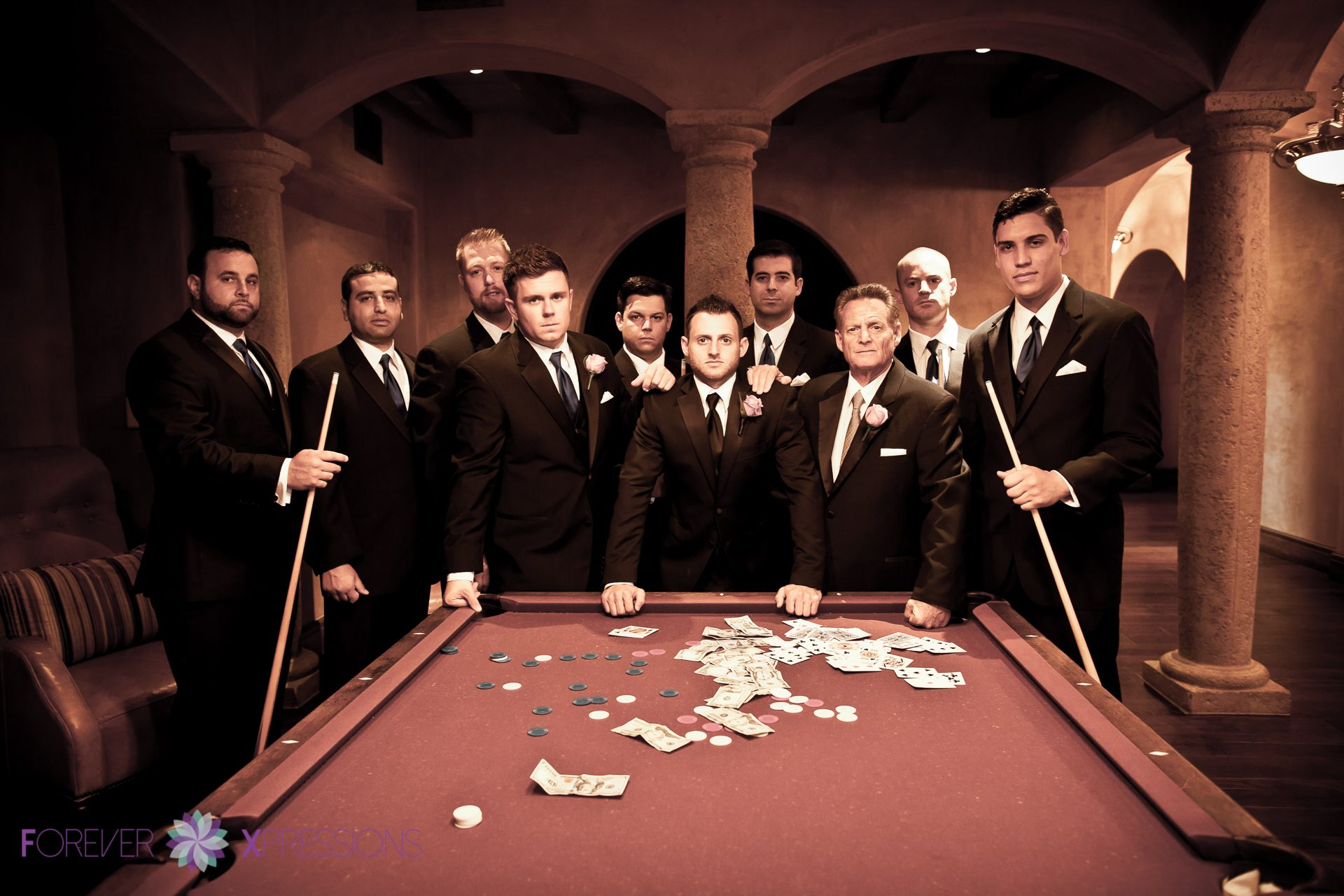 Groom with Groomsmen Pool Table with Money.