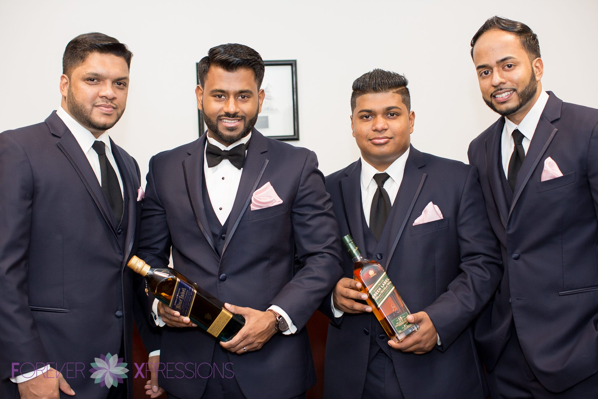 Groom and his men with Johnnie Walker Blue.