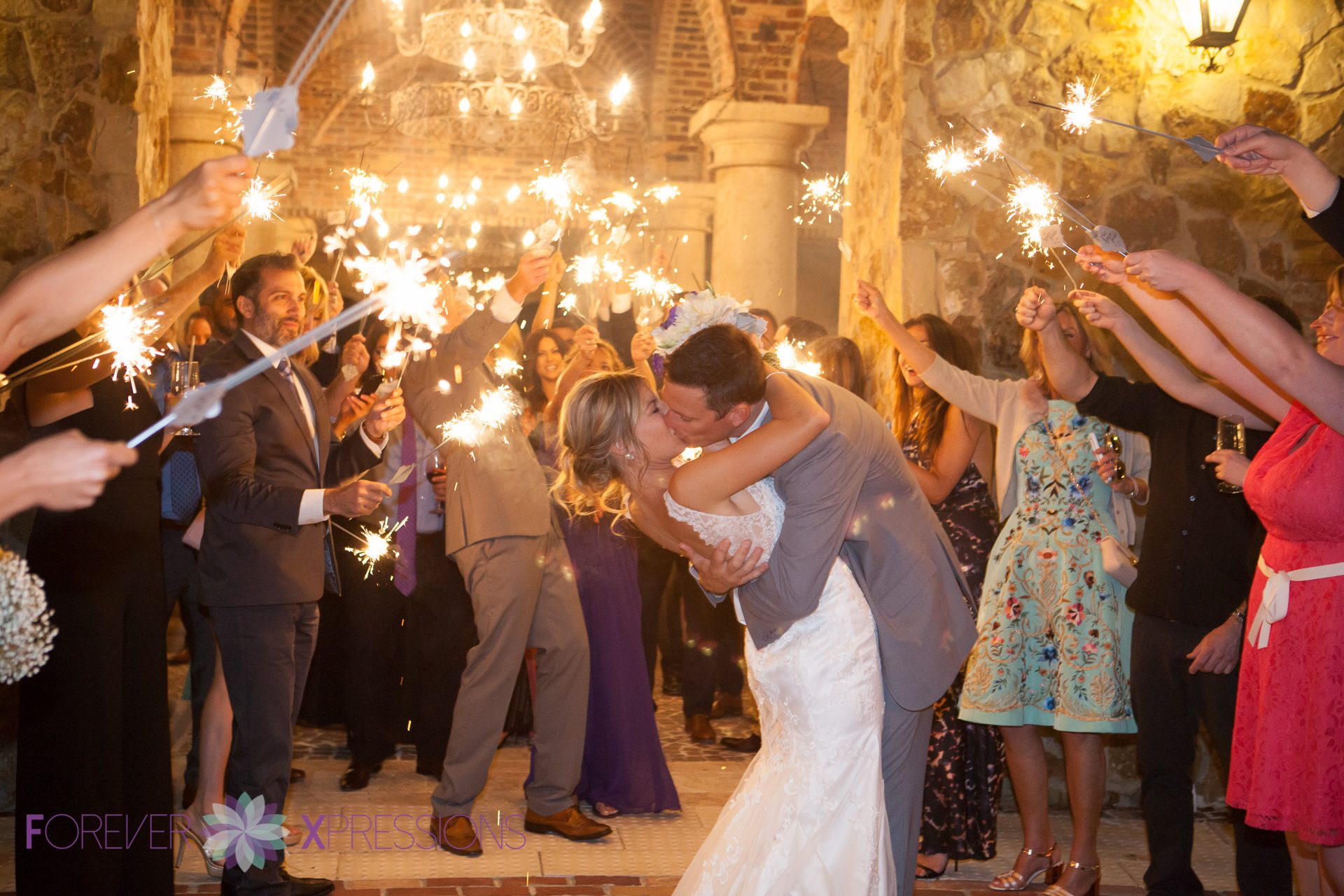 Sparkler exit at Bella Collina.